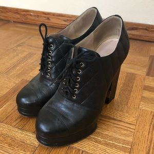 Chanel Quilted Lace up Leather Booties, Size 37.5
